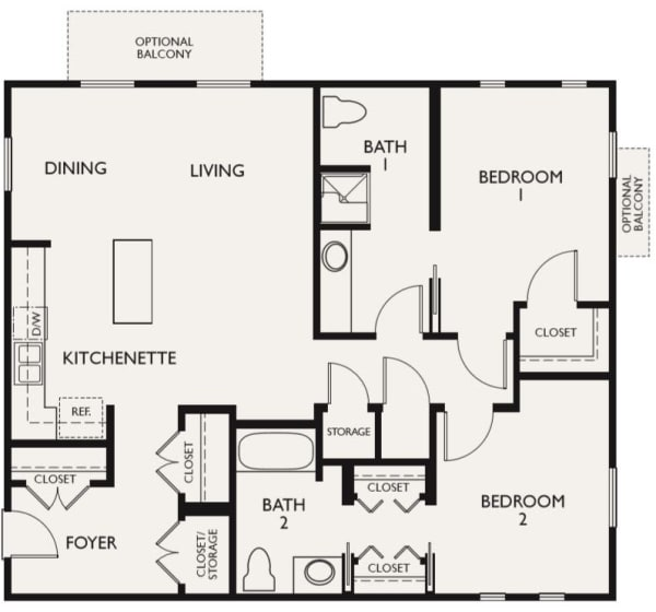 Plan E floor plans at The Inn at Greenwood Village in Greenwood Village, Colorado