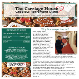 December The Carriage House Gracious Retirement Living newsletter