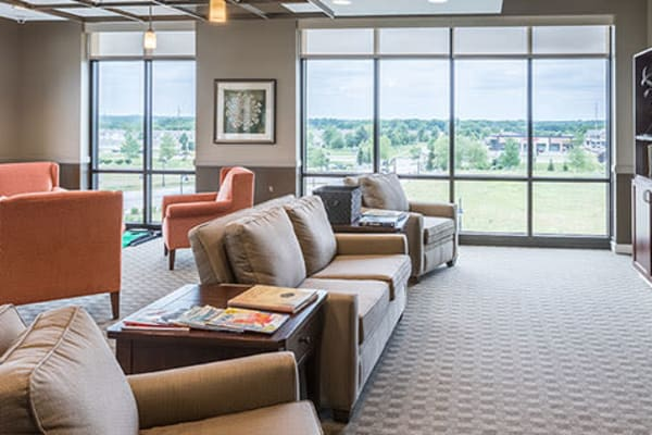 Cozy living area for residents at First & Main of Lewis Center in Lewis Center, Ohio