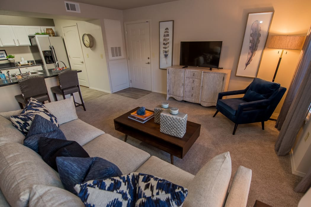 Spacious living room at Cottages at Tallgrass Point Apartments in Owasso, Oklahoma