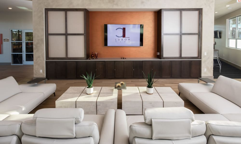 Clubhouse area with huge couch and tv to watch in Jacksonville, Florida offer a Clubhouse