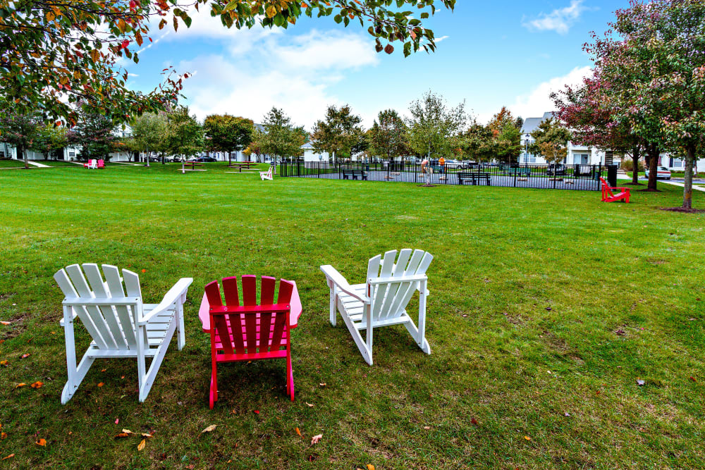 Large grassy outdoor area at Eagle Rock Apartments at Freehold in Freehold, New Jersey
