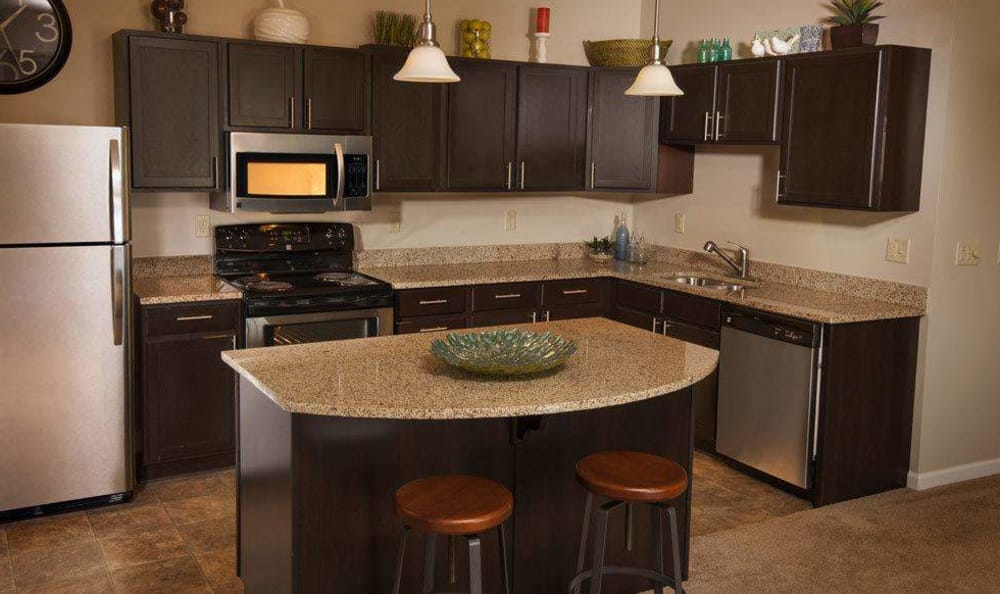 Full-equipped kitchen at Rochester Village Apartments at Park Place in Cranberry Township