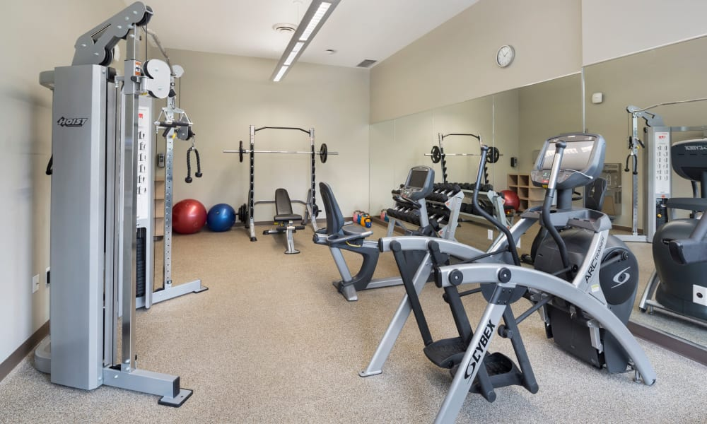 Modern fitness equipment at Northwoods Village in North Vancouver, British Columbia