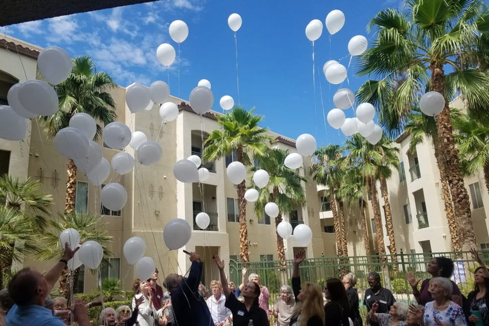 Balloon event release at Merrill Gardens at Green Valley Ranch in Henderson, Nevada.