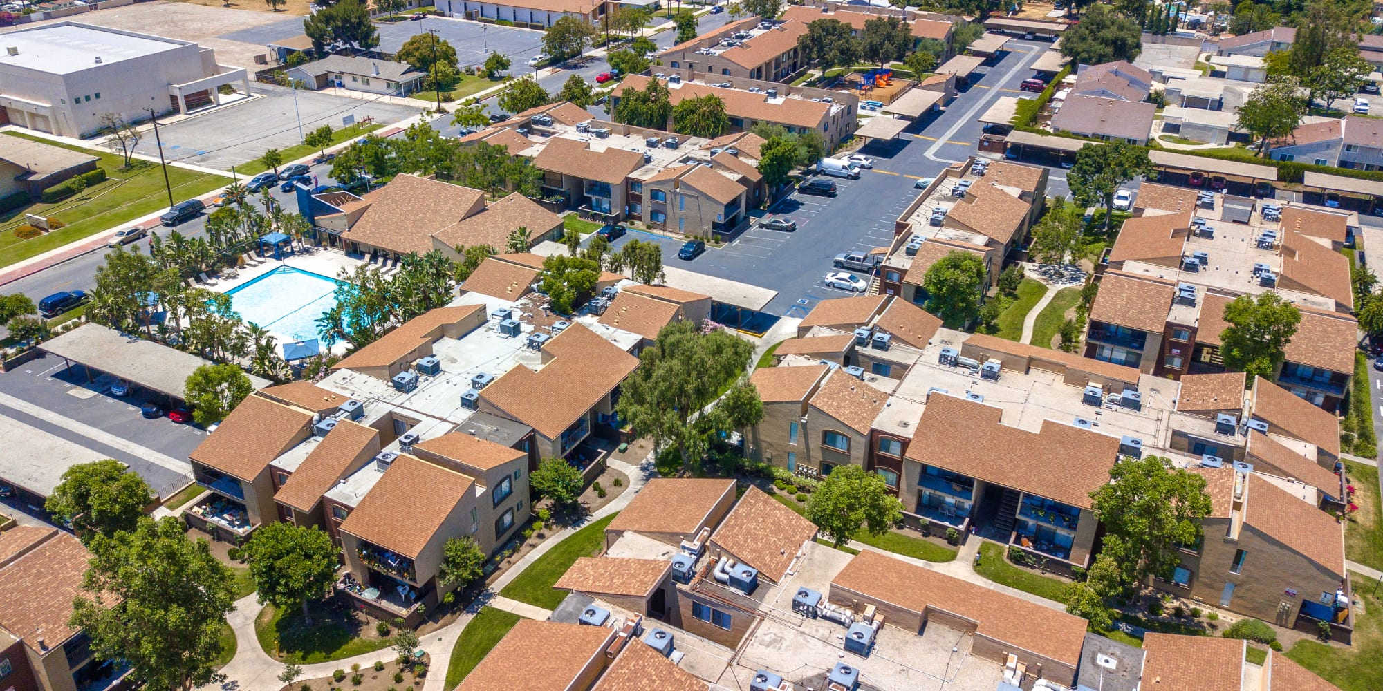 Aerial view of the apartment style homes at West Fifth Apartments in Ontario, California