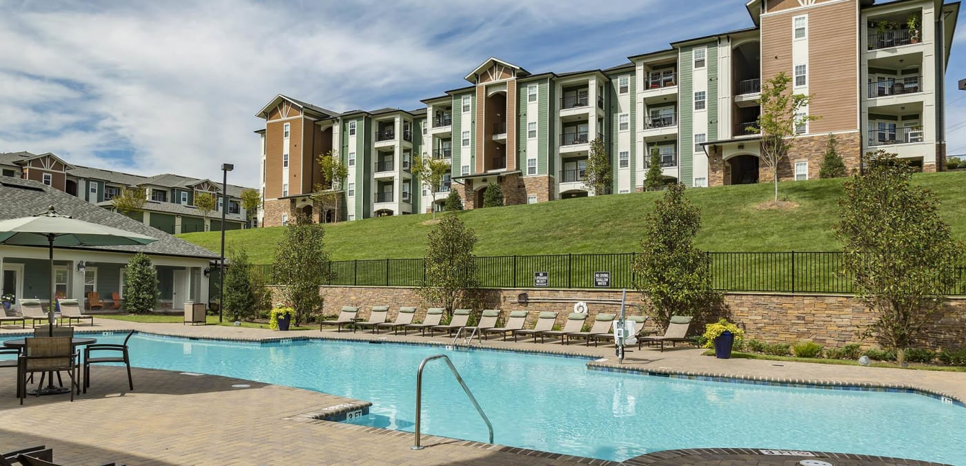 View of swimming pool at Integra Hills Preserve Apartments in Ooltewah, TN
