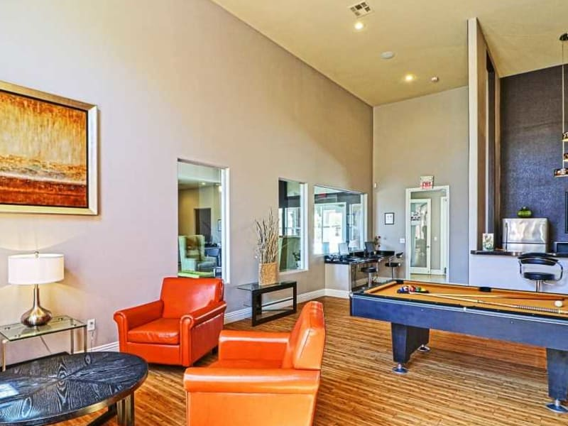 A pool table in the clubhouse at Monterra Apartment Homes