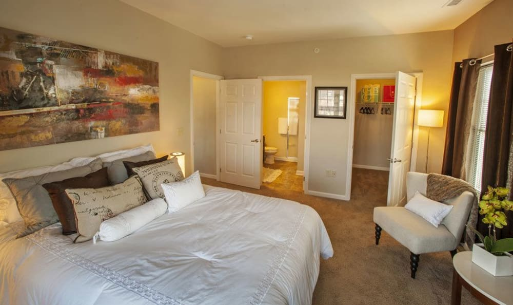 Cozy bedroom at Rochester Village Apartments at Park Place in Cranberry Township, Pennsylvania