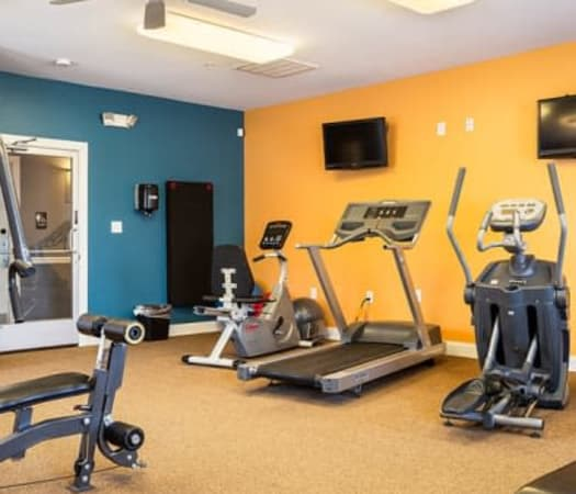 Fully-equipped fitness center at Cannon Mills in Dover, Delaware