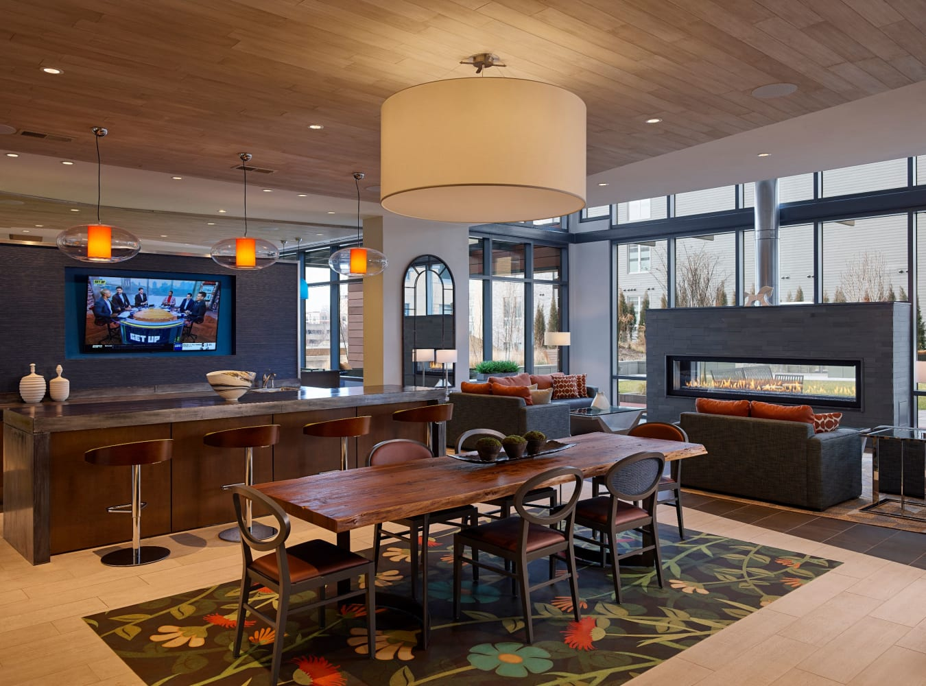 Clubhouse with plenty of comfortable seating for entertaining guests at Solaire 8250 Georgia in Silver Spring, Maryland