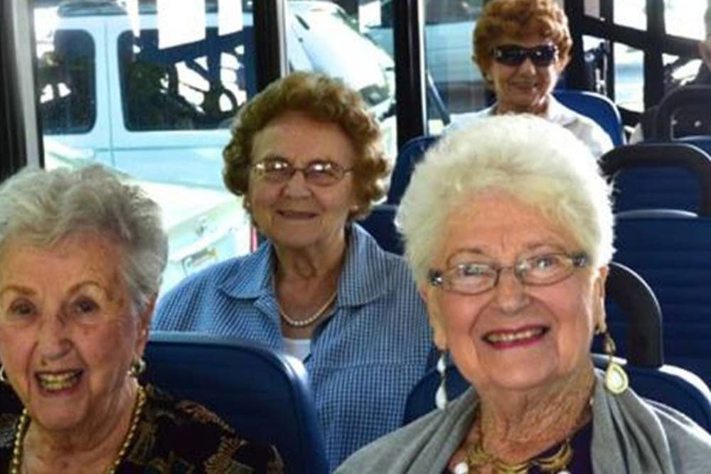 On the bus headed to a fun outing with Roseville Commons Senior Living in Roseville, California