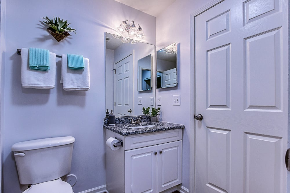 Bright bathroom at Eagle Rock Apartments at Freehold in Freehold, New Jersey
