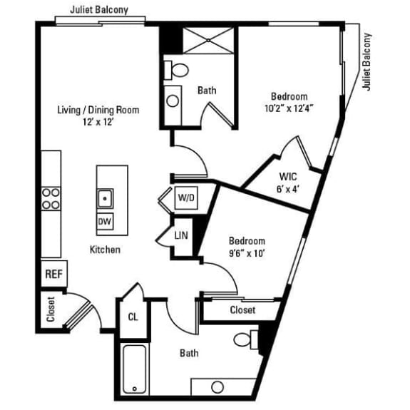 2 Bedroom, 2 Bath 972 sq. ft. apartments for rent at City Centre in Ithaca, NY
