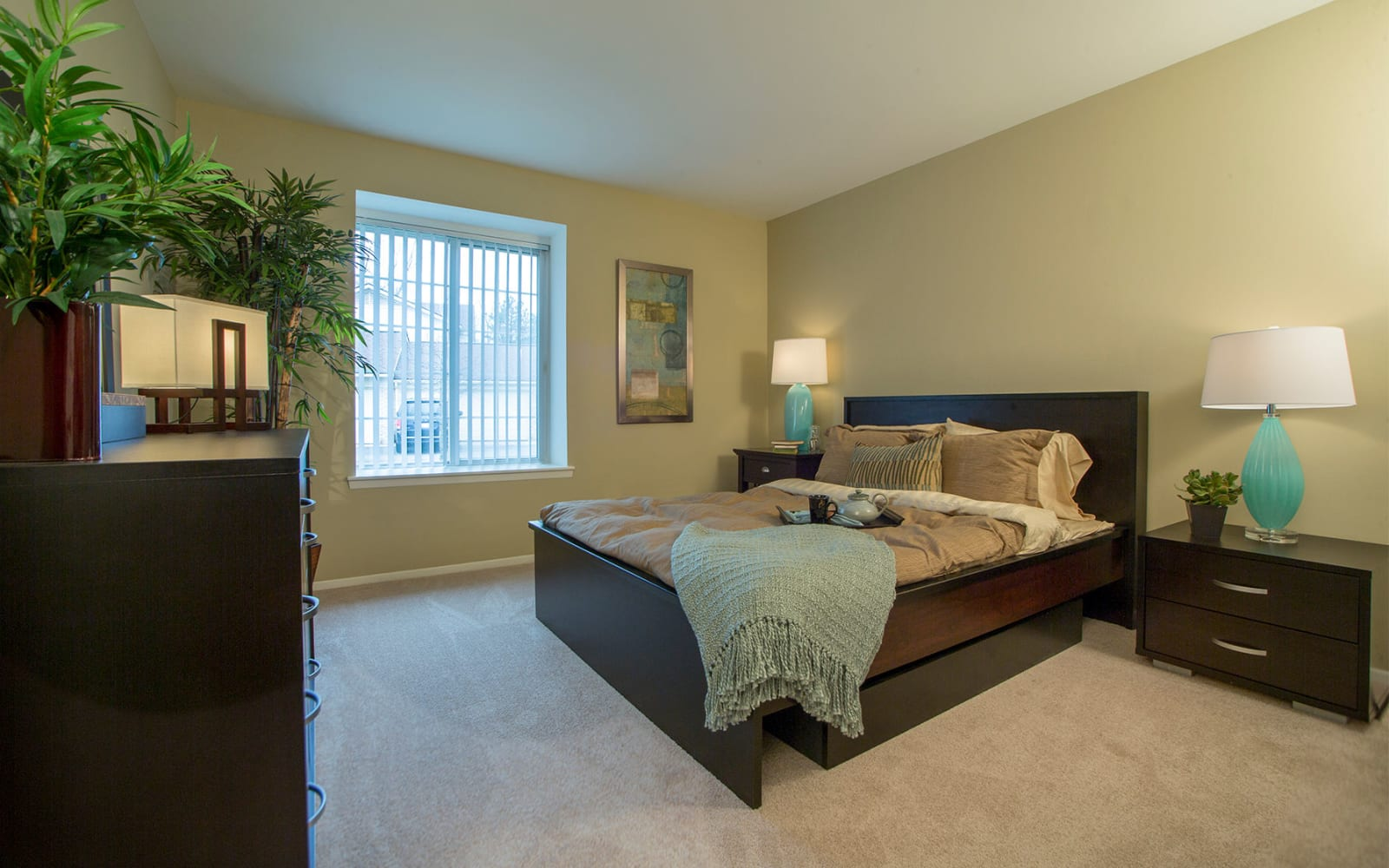 Model bedroom at Aldingbrooke in West Bloomfield, Michigan