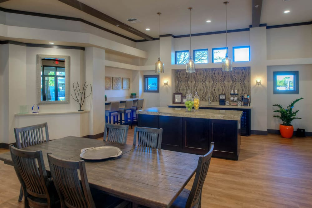 Contemporary decor in the resident clubhouse at The Reserve at Gilbert Towne Centre in Gilbert, Arizona