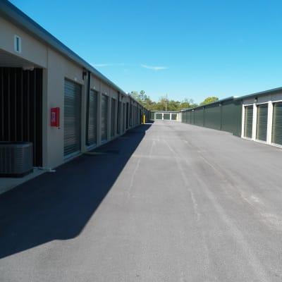 Exterior storage units at Breezy Hill Self Storage in Graniteville, South Carolina