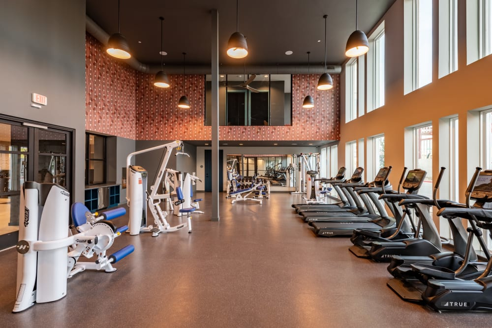 Huge fitness center for residents at The Langford in Dallas, Texas