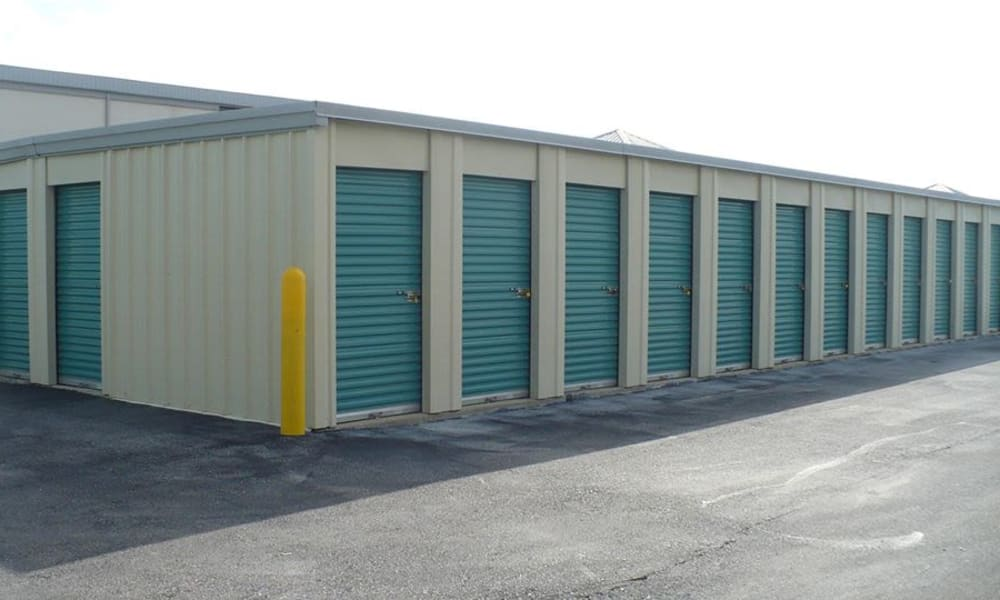 Teal storage unit doors at A Storage Solution of Destin in Destin, Florida