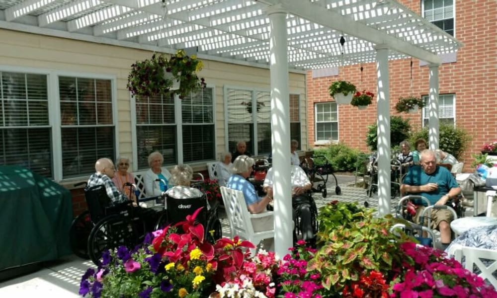 Covered outdoor seating at Chestnut Knoll in Boyertown, Pennsylvania