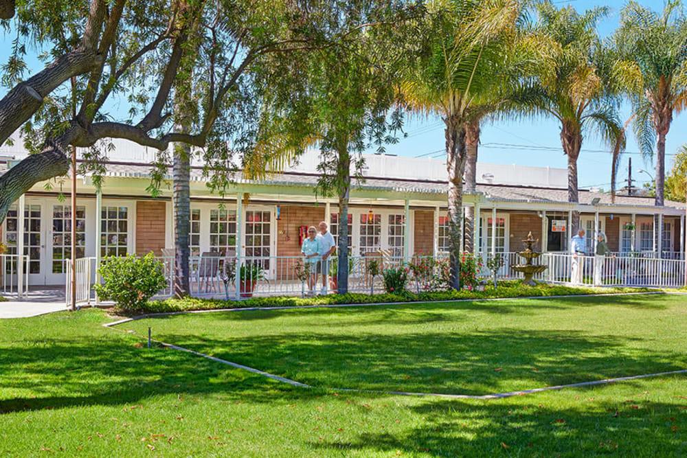 Residents enjoying the community spaces at Monte Vista Village in Lemon Grove, California.