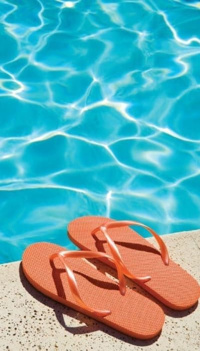 Sandals by the pool at GrandeVille at Malta in Malta, New York