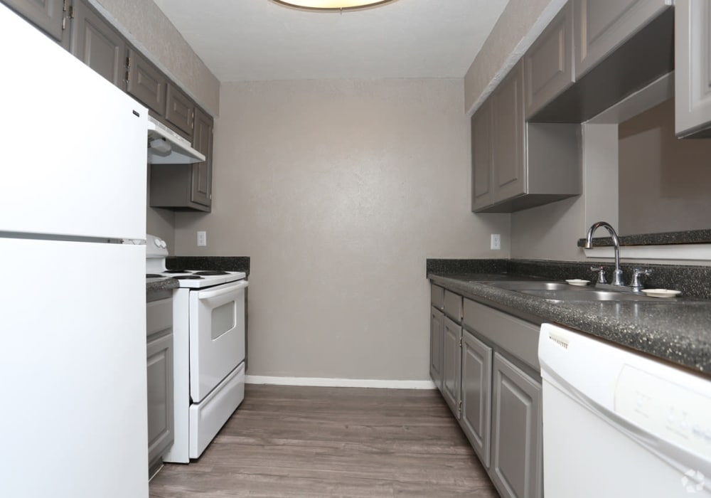 Model kitchen at Riverstone Apartments in Bryan, Texas