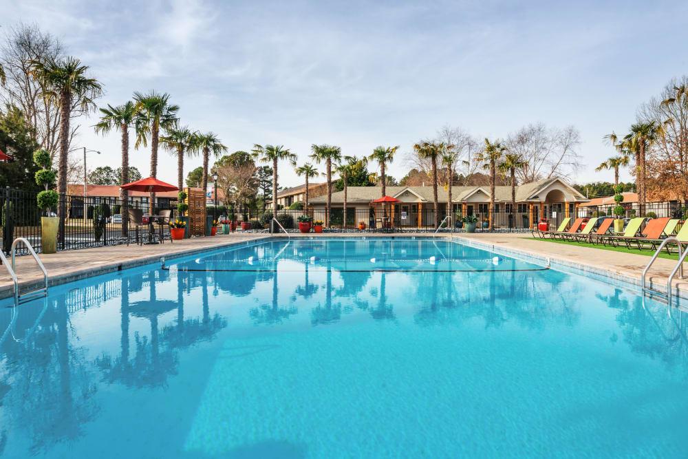 Beautiful massive resort style swimming pool at Berkshire 54 in Carrboro, North Carolina