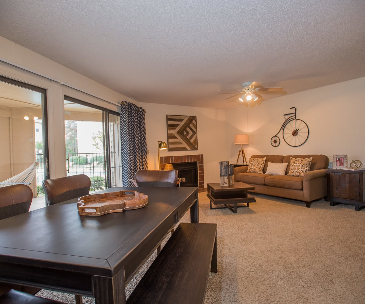 Bright living room at Copperfield Apartments in Oklahoma City, Oklahoma