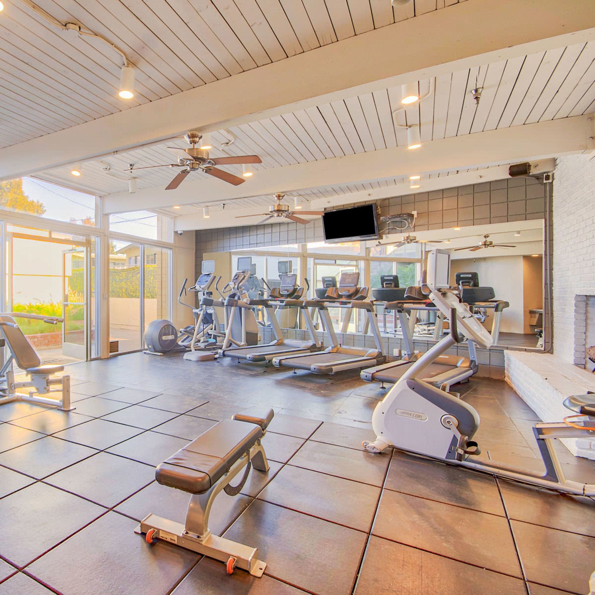 Well-equipped fitness center at Villa Vicente in Los Angeles, California
