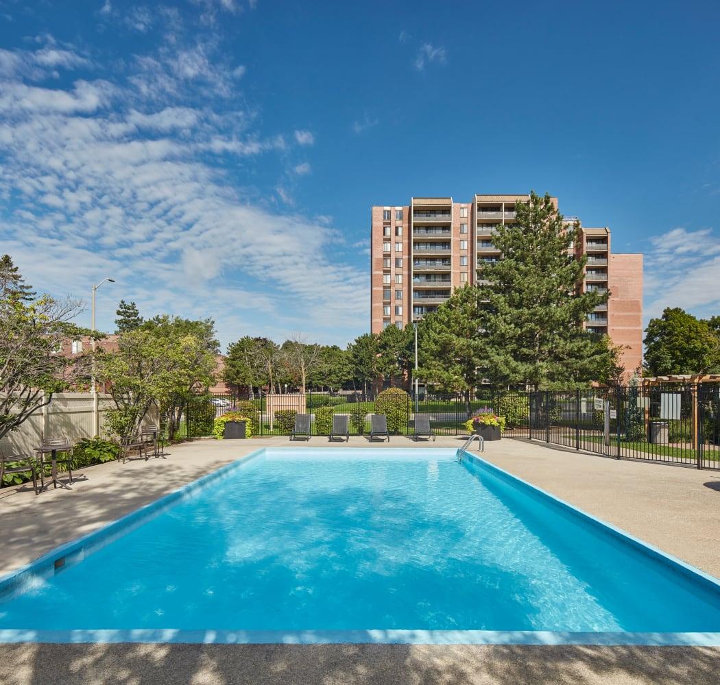 Swimming pool at Bristol Court in Mississauga, Ontario