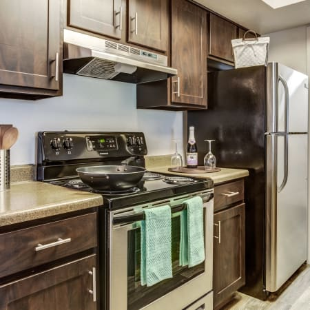 Newly renovated brown kitchen cabinetry with stainless steel appliances at Springs of Country Woods Apartments in Midvale