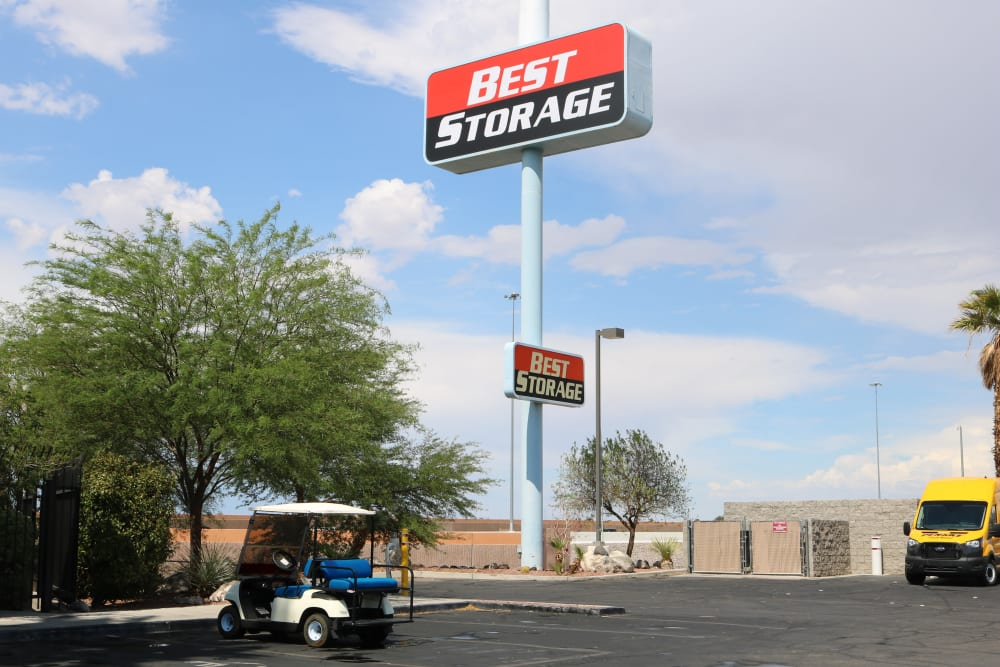 The sign for Best Storage