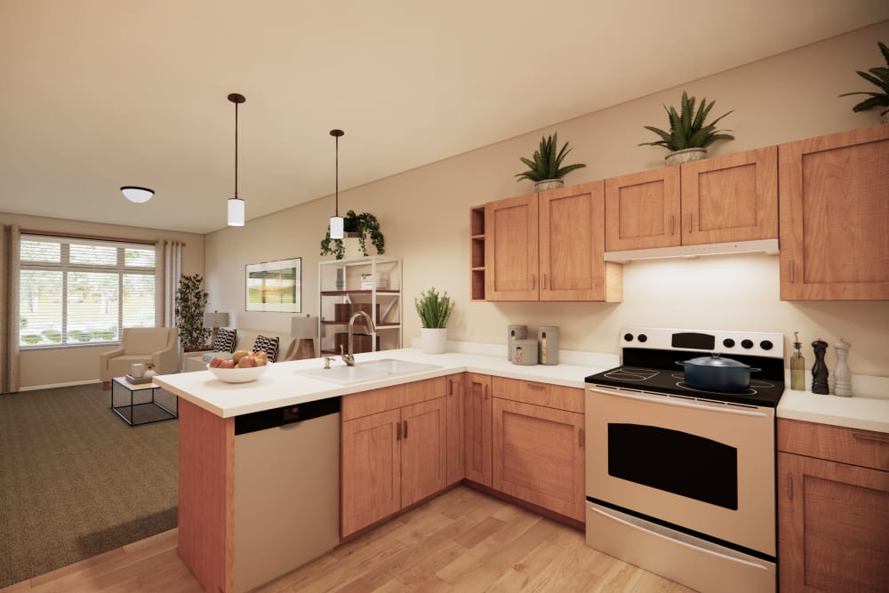 Open kitchens at Broadwell Senior Living in Plymouth, Minnesota