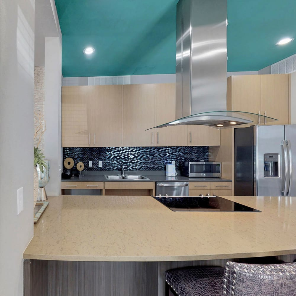 Demonstration kitchen in the clubhouse at Oaks 5th Street Crossing City Center in Garland, Texas