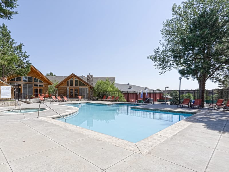 Pool-side seating at Westhills Apartment Homes
