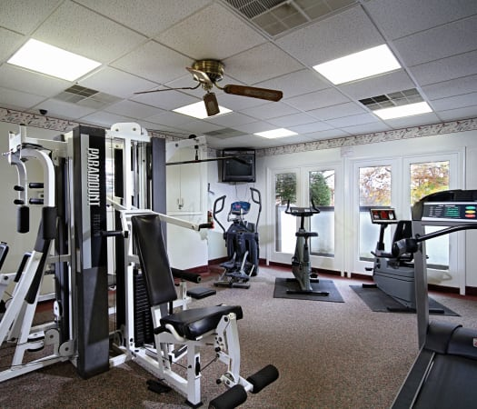 Modern fitness center at King's Manor Apartments in Harrisburg, Pennsylvania