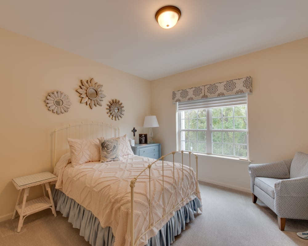 A decorated bedroom at Harmony at Harbour View in Suffolk, Virginia