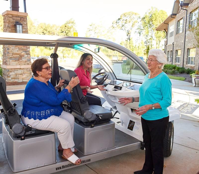 Golf cart offers residents rides around Celebration Village in Suwanee, Georgia