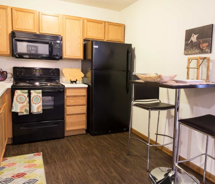 Apartment kitchen at Prairie Reserve in Cedar Rapids, Iowa