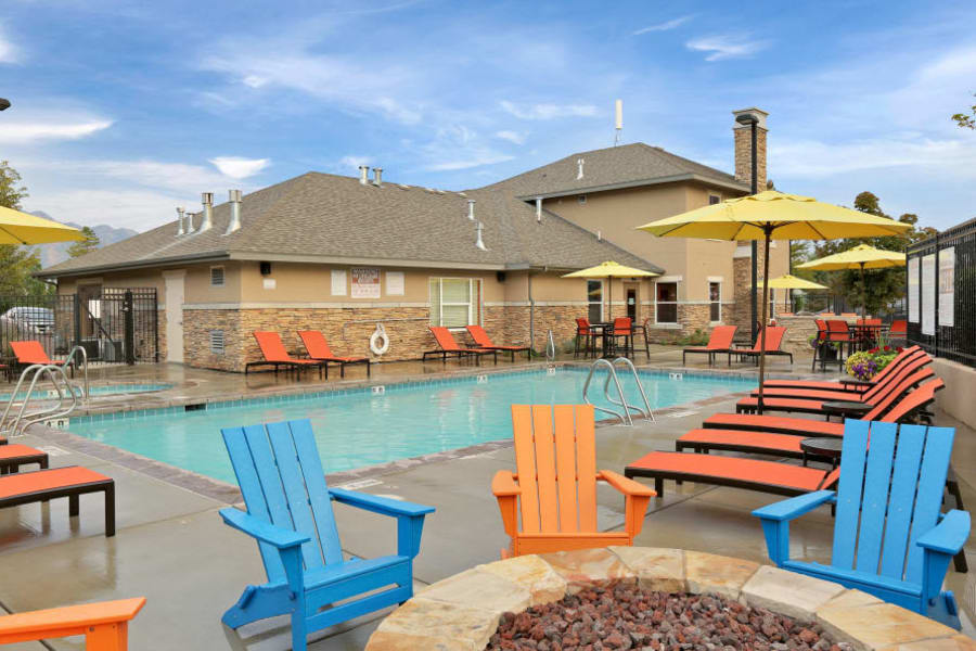 Beautiful swimming pool at Meadowbrook Station Apartments in Salt Lake City, Utah