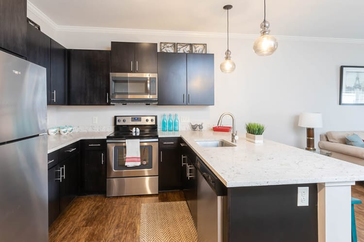 Modern kitchen at North Ponds Apartments home