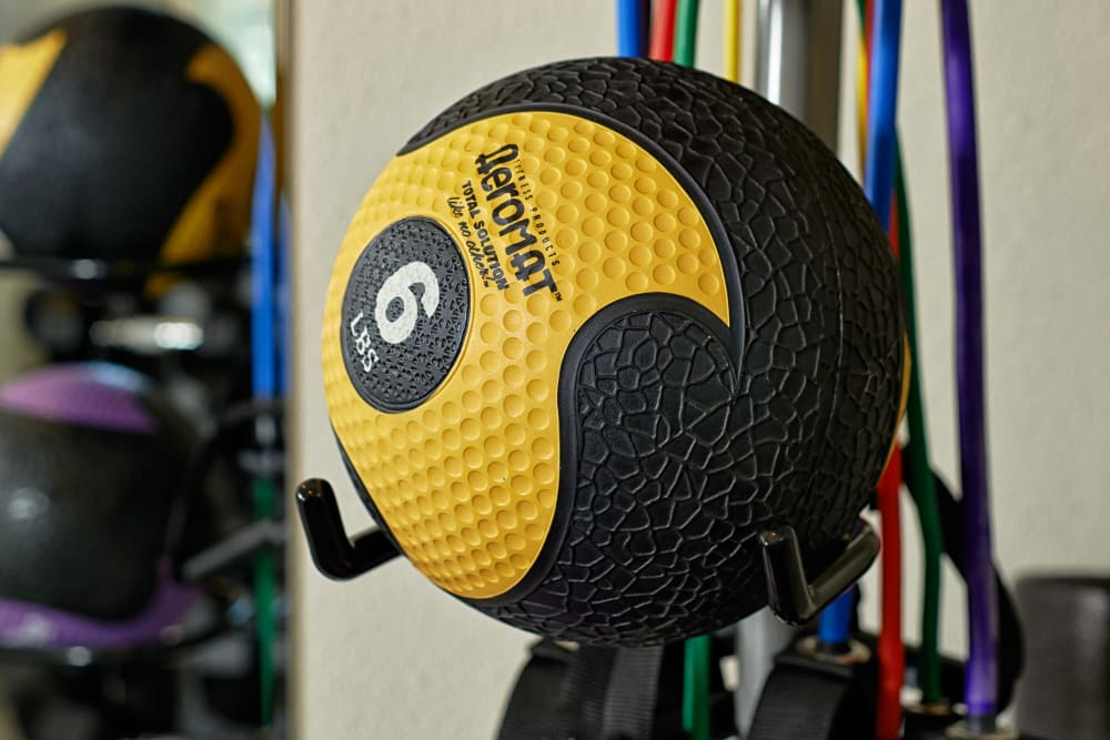 Medicine balls at Heritage Meadow Apartments in Eugene, Oregon