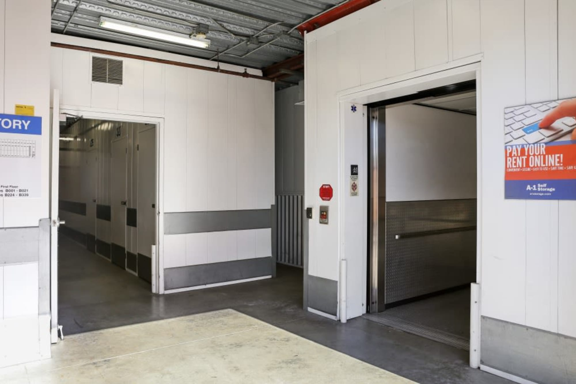 Elevator and clean hallways at A-1 Self Storage in Fullerton, California