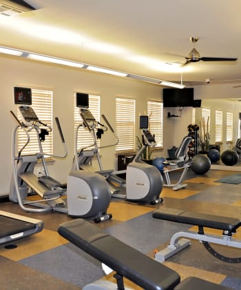 Modern fitness center at apartments in Ruston, Louisiana
