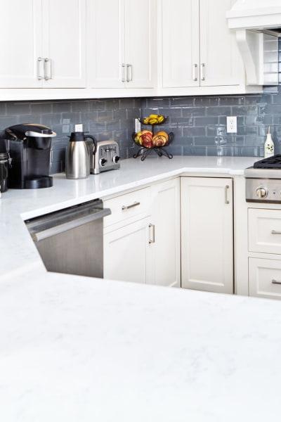 Quartz countertops in a model apartment's kitchen at Solera at City Centre in Palm Beach Gardens, Florida