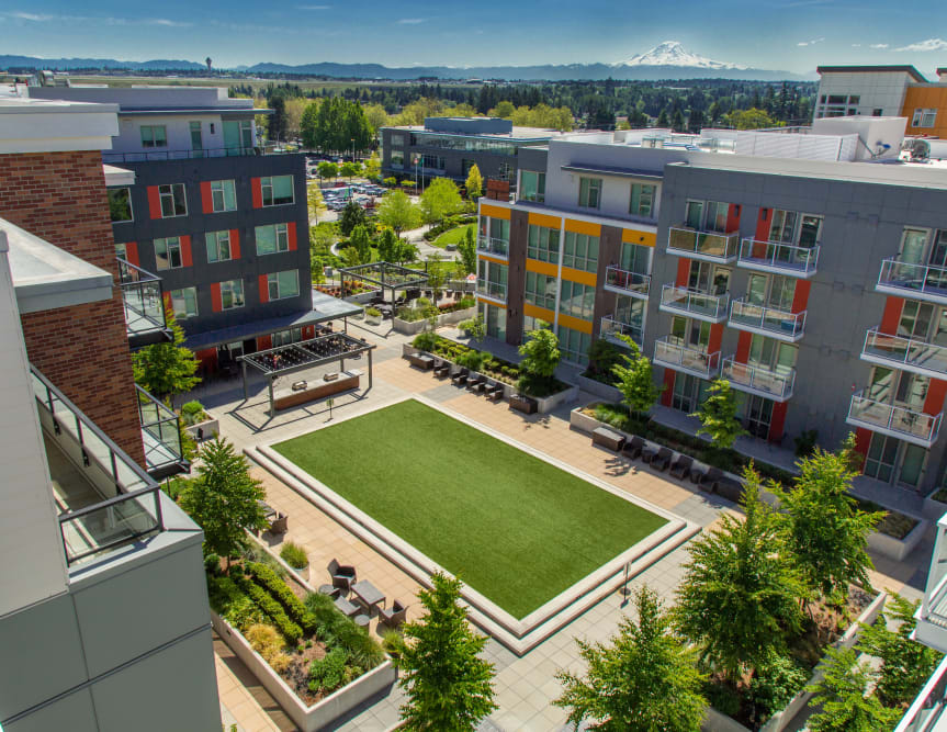 Aerial view of the outdoor courtyard at The Maverick