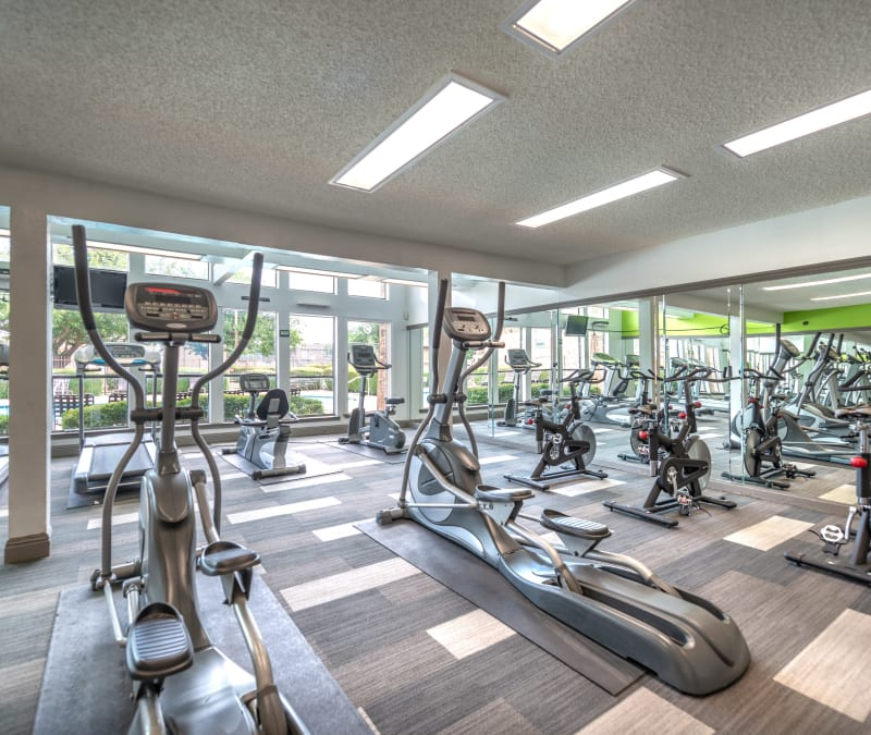Residents can stay in shape in the fitness center at 8500 Harwood Apartment Homes in North Richland Hills, Texas