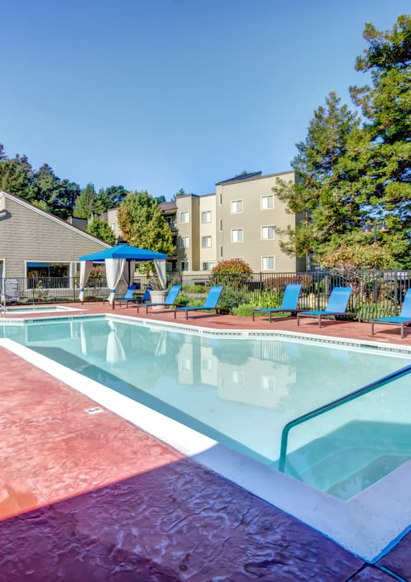 Great Pool with Lounge Chairs and Beautiful Landscaping at Serramonte Ridge Apartment Homes in Daly City
