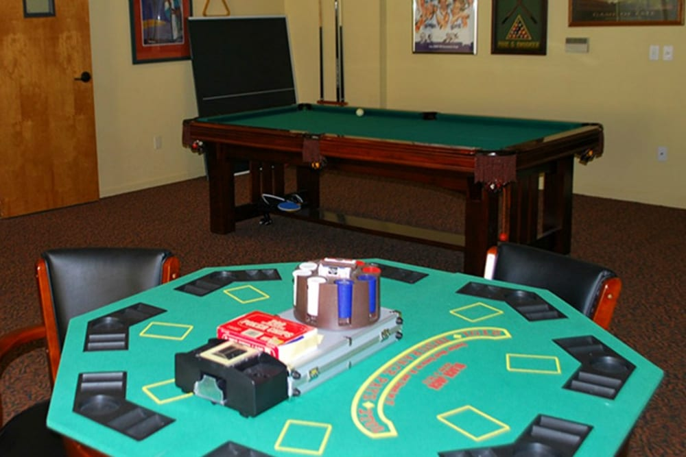 Game room at Winding Commons Senior Living in Carmichael, California